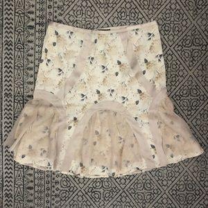 Development 100% Silk Skirt 4 Cream Floral 90s